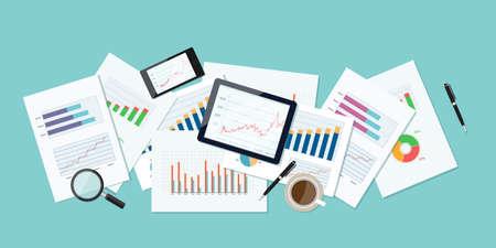 Ilustración de business finance and investment banner and mobile device for business.report paper.graph analyze background - Imagen libre de derechos