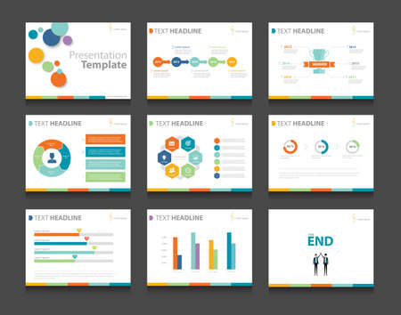 Ilustración de colorful infographic business presentation template set.powerpoint template design backgrounds - Imagen libre de derechos