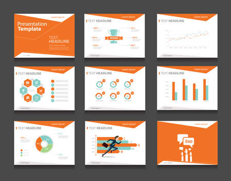 Ilustración de orange infographic business presentation template set.powerpoint template design backgrounds - Imagen libre de derechos