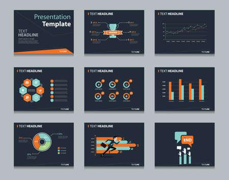 Ilustración de black infographic powerpoint template design backgrounds . business presentation template set - Imagen libre de derechos