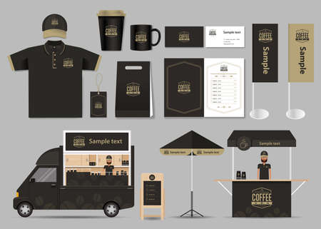 Illustration for concept for coffee shop and restaurant identity mock up template. card .menu.polo shirt.vector - Royalty Free Image