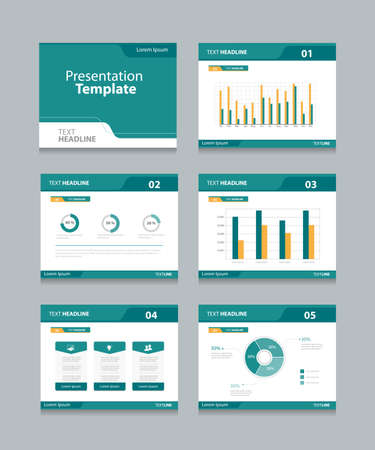 Ilustración de Vector template presentation slides background design.info graphs and charts . slides design.flat style. - Imagen libre de derechos