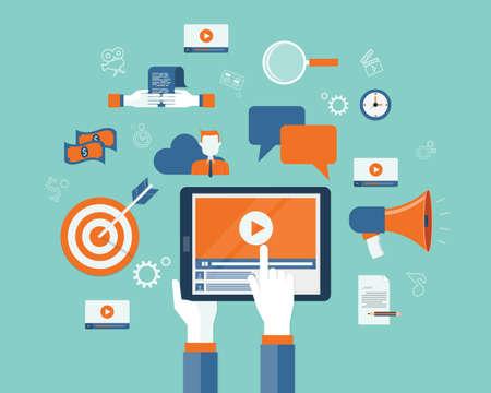 Illustration pour business video marketing content online concept - image libre de droit