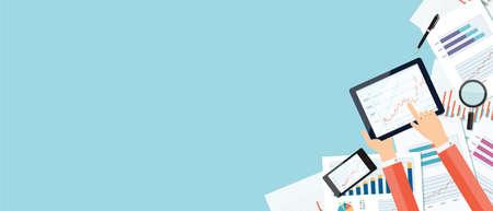 Illustration pour Vector business investment and finance concept .business planning on device technology .web banner - image libre de droit