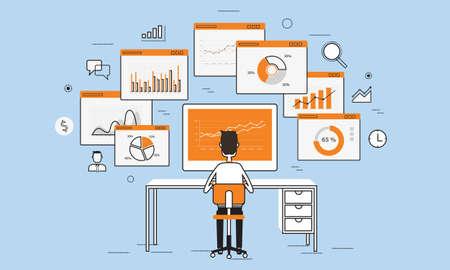 Illustration pour business people analytics business graph on monitor concept - image libre de droit