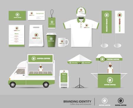 Foto de corporate branding identity mock up template for coffee shop and restaurant. card .menu.polo shirt.vector.yellow - Imagen libre de derechos