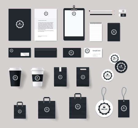Illustration for corporate branding identity mock up template for coffee shop and restaurant. card .menu.vector.stationary.packaging, corporate identity - Royalty Free Image