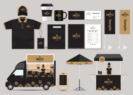 Illustration for concept for coffee shop and restaurant identity mock up template. card .menu.polo shirt. - Royalty Free Image