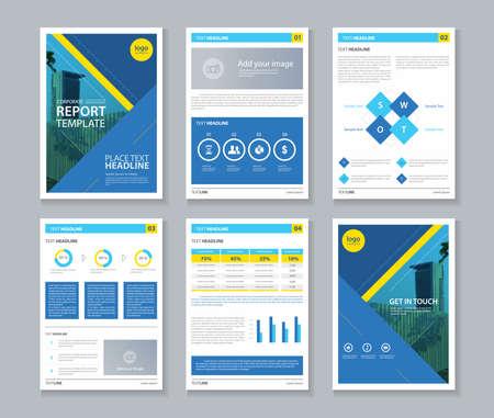 Ilustración de company profile ,annual report , brochure , flyer, page layout template,and business info chart element template - Imagen libre de derechos
