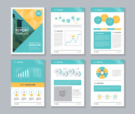 Ilustración de company profile ,annual report , brochure , flyer, page layout template,and business info chart element template - Imagen libre de derechos