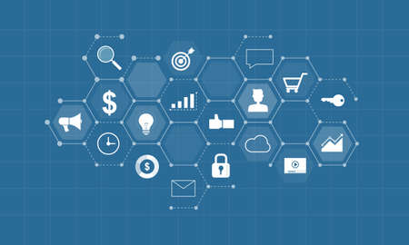 Ilustración de business digital content for marketing online connection concept and business on social network background concept - Imagen libre de derechos