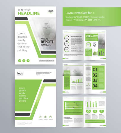 Ilustración de page layout for company profile, annual report, brochure, and flyer layout template. with info graphic element. and vector A4 size  for editable - Imagen libre de derechos