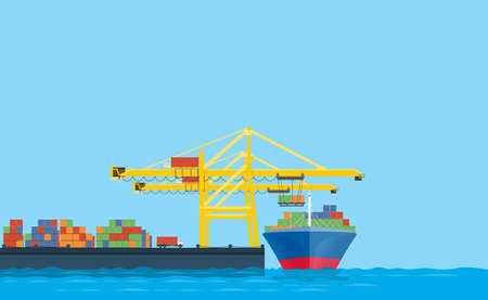 flat vector business shopping and logistics concept.international transport.with cargo shop in Shipping dock