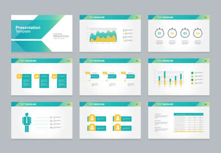 Illustration pour abstract presentation slide template design background with infographic elements for brochure,social info.flat vector illustration - image libre de droit