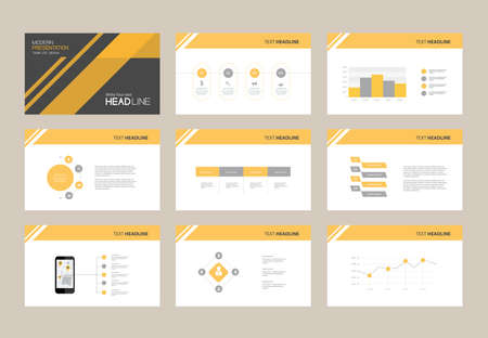 Ilustración de abstract presentation slide template design background with infographic elements for brochure,social info.flat vector illustration - Imagen libre de derechos