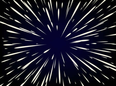 Illustration pour Star Warp or Hyperspace with free space in the center, light of moving stars concept. - image libre de droit