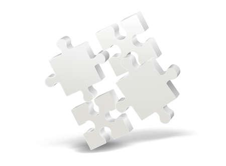 Illustration pour 3D puzzle on white background with shadow. Vector - image libre de droit