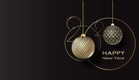 Illustration for greeting card. Happy new year 2020 Golden balls. vector - Royalty Free Image