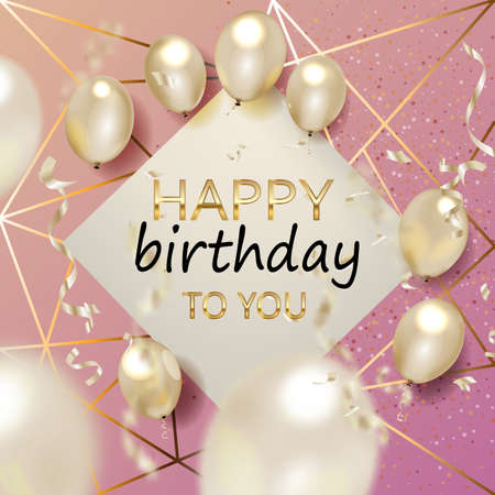 Illustration for Birthday elegant greeting card with gold balloons and falling confetti Vector - Royalty Free Image