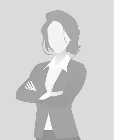 Illustrazione per Default placeholder businesswoman half-length portrait photo avatar. Woman gray color  - Immagini Royalty Free