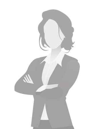 Illustration pour Default placeholder businesswoman half-length portrait photo avatar. Woman gray color - image libre de droit