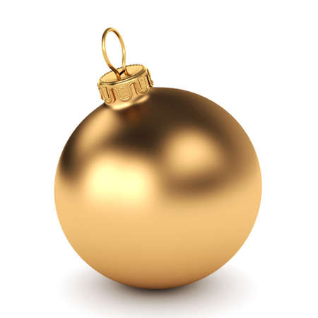 Photo pour Gold Christmas ball on a white background - image libre de droit