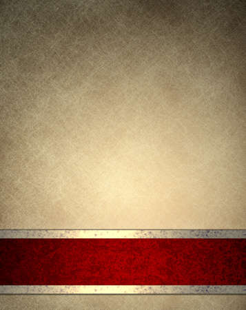 brown beige background with old parchment texture background paper design, or elegant wallpaper frame with fancy red background ribbon stripe with gold decoration, luxury background in vintage style