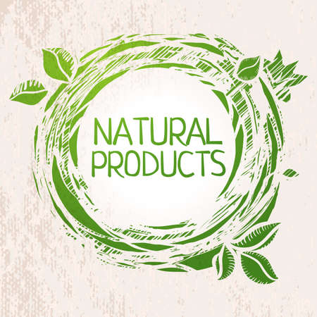 Illustration for Natural products green colored sketch label.  - Royalty Free Image