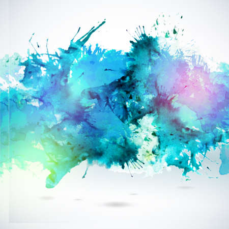 Ilustración de Sky blue centered decorative watercolor background. Vector hand drawing abstract illustration for business headline. Artistic banner. - Imagen libre de derechos