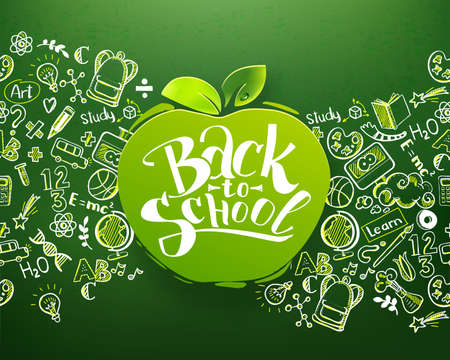 Foto per Back to school Horizontal chalkboard with hand drawn pattern and lettering logo on apple. Education background for posters, banners. School ideas and typography background. Vector illustration - Immagine Royalty Free