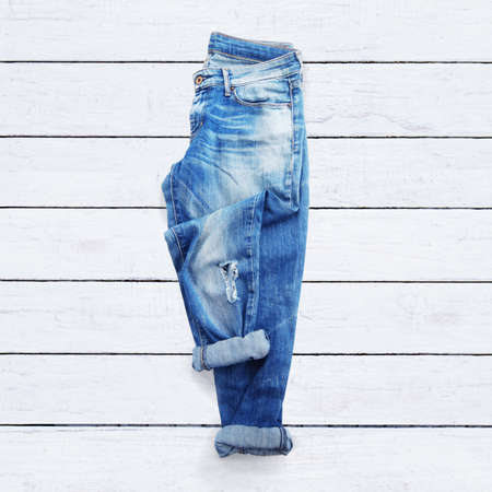 Photo for jeans on a white wooden background - Royalty Free Image