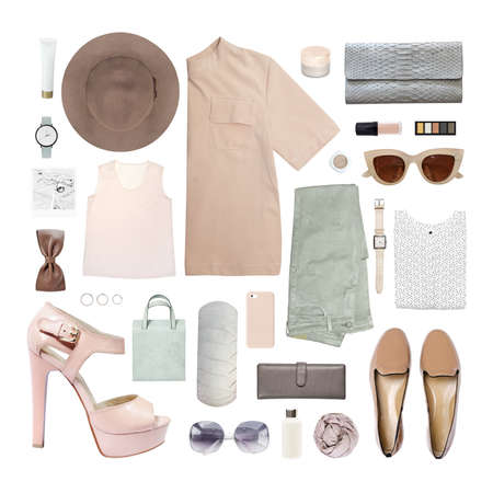 Foto de fashion blogger concept. Minimal set of Feminine accessories on white background. - Imagen libre de derechos