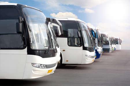 Foto de big tourist buses on parking - Imagen libre de derechos