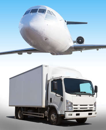 Foto per plane in sky truck on road transportation of goods - Immagine Royalty Free