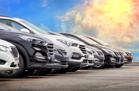 Foto per Cars For Sale Stock Lot Row. Car Dealer Inventory - Immagine Royalty Free