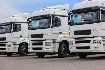 Photo for New white trucks for sale. Dealer trucks - Royalty Free Image