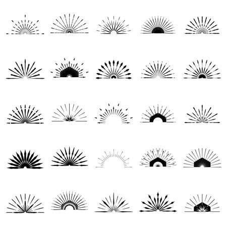 Ilustración de Big set of Retro Sun burst shapes. 25 Half Vintage logo, labels, badges. Vector design element isolated. Minimal black firework burst. - Imagen libre de derechos