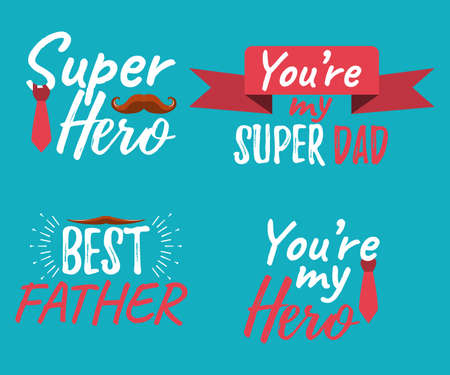 Illustrazione per Set of Happy Father's Day banner and giftcard. Best Dad Poster Sign on Background. Vector Illustration. - Immagini Royalty Free
