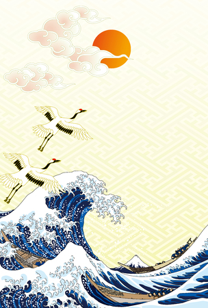 Ilustración de The great wave and first sunrise in Japan - Imagen libre de derechos