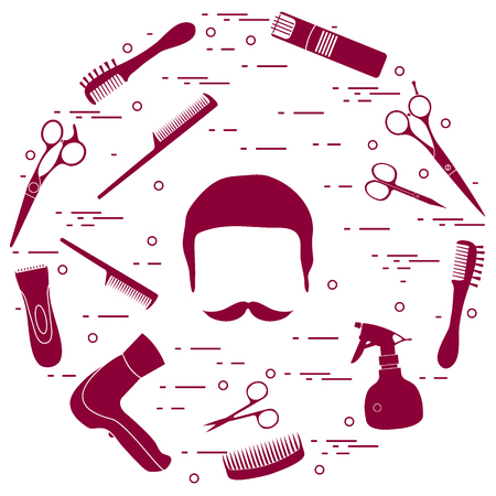 Illustrazione per Illustration of men hairstyles, beards and mustaches, hairdresser tools care. Male haircuts. Barbershop symbol. - Immagini Royalty Free
