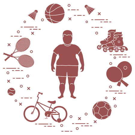 Illustrazione per Fat boy, badminton rackets and shuttlecocks, football and basketball balls, rackets and balls for table tennis, kids bicycle, rollers. Sports and healthy lifestyle from childhood. - Immagini Royalty Free