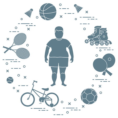 Ilustración de Fat boy, badminton rackets and shuttlecocks, football and basketball balls, rackets and balls for table tennis, kids bicycle, rollers. Sports and healthy lifestyle from childhood. - Imagen libre de derechos