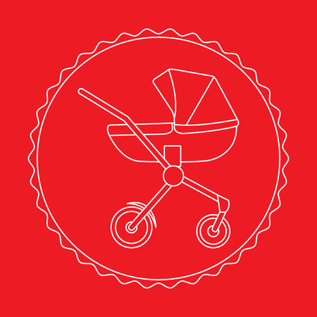 Illustration pour Vector illustration with baby carriage. Things necessary for newborns. Pram. Baby stroller. - image libre de droit