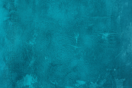 Foto de Old scratched and chapped painted blue wall. Abstract textured turquoise background, empty template - Imagen libre de derechos