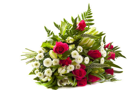 Beautiful bouquet with different kind of flowers over white