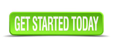 Illustration pour get started today green 3d realistic square isolated button - image libre de droit