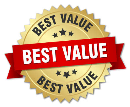 Illustration for best value 3d gold badge with red ribbon - Royalty Free Image
