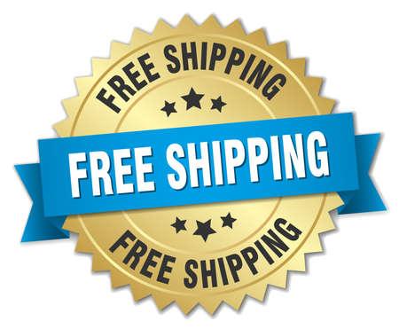Illustration pour free shipping 3d gold badge with blue ribbon - image libre de droit