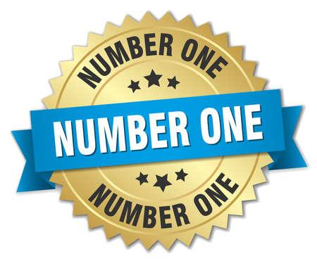 Ilustración de number one 3d gold badge with blue ribbon - Imagen libre de derechos