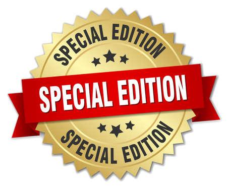 Ilustración de special edition 3d gold badge with red ribbon - Imagen libre de derechos